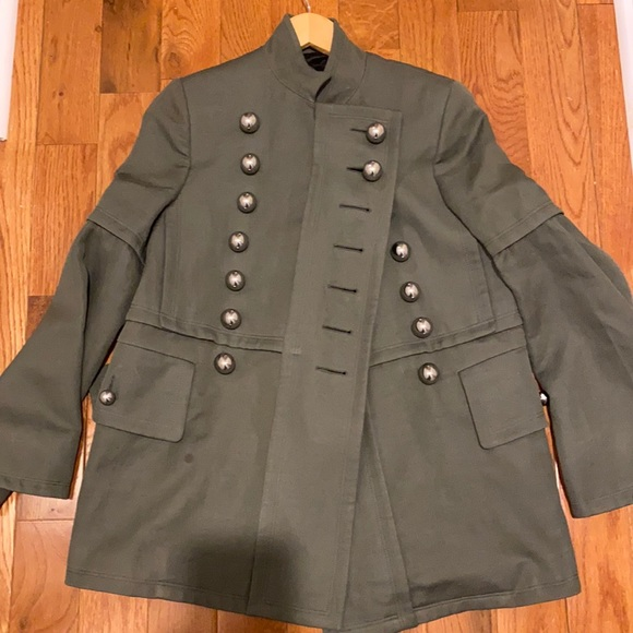 Burberry military coat with round metal button